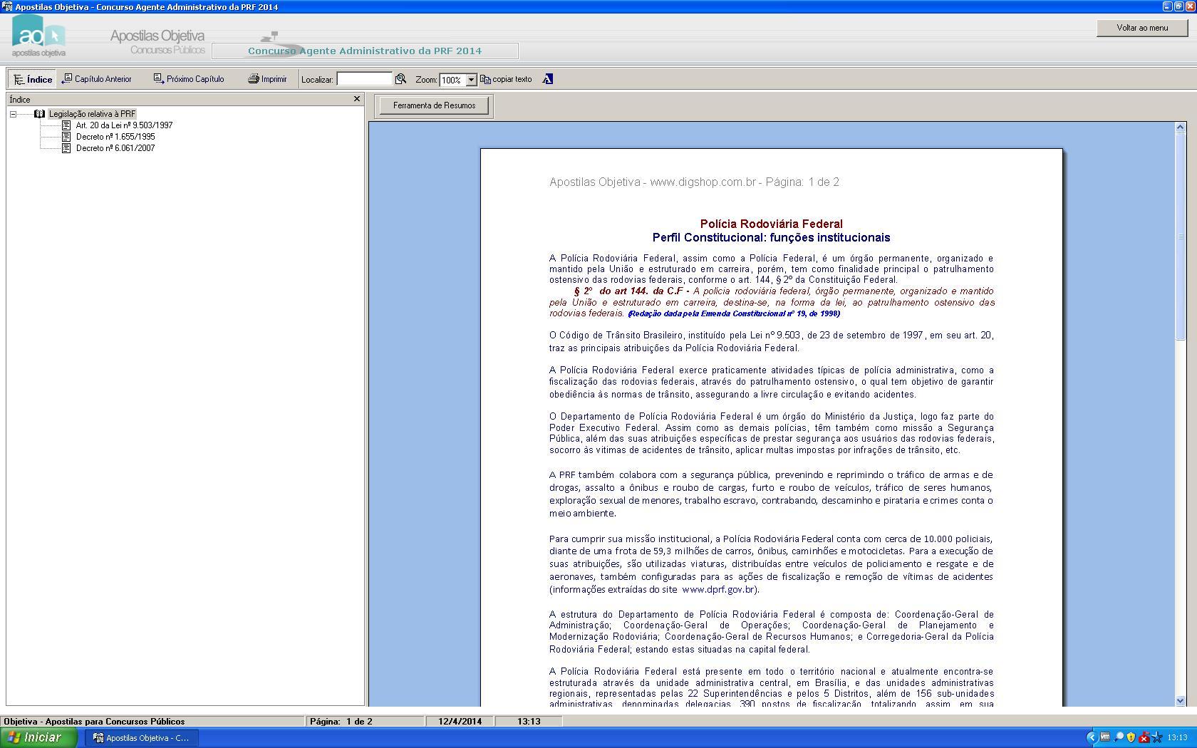Apostila do Concurso Agente Administrativo Polícia Rodoviária Federal - Imagem 3 do software