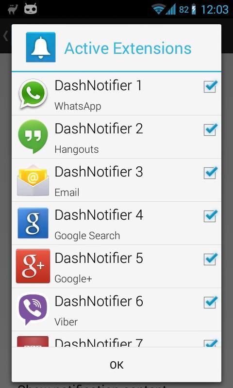 DashNotifier for DashClock - Imagem 2 do software