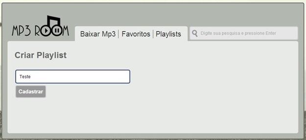 Cadastrando uma playlist