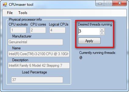 CPUmaxer Tool - Imagem 2 do software