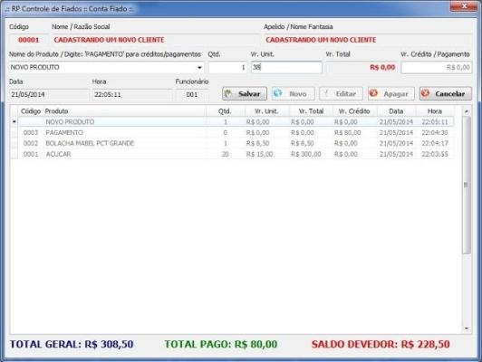 RP Controle de Fiados - Imagem 1 do software