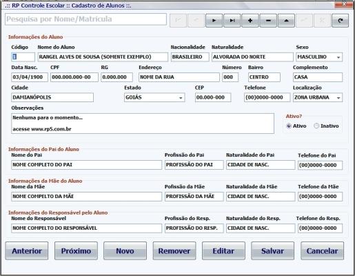 RP Controle Escolar - Imagem 1 do software