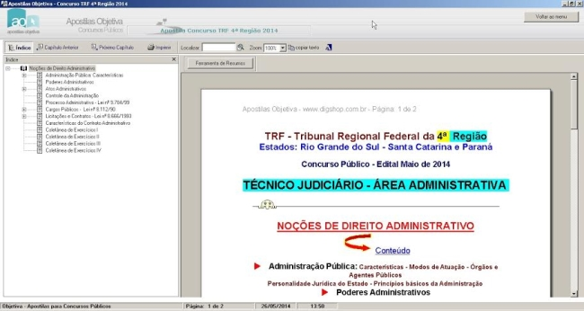 Apostila Concurso TRF 4a Região 2014 Técnico Judiciário - Área Administrativa - Imagem 1 do software