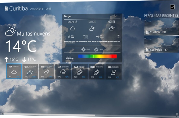 Visualizando o clima atual e a previsão
