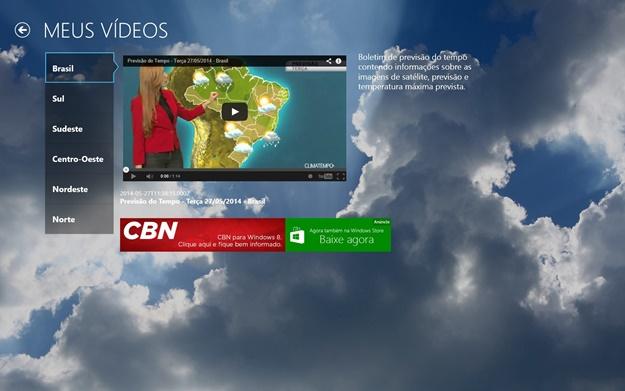 Vídeos com as condições climáticas