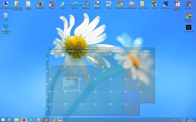 Calendário na parte inferior do desktop