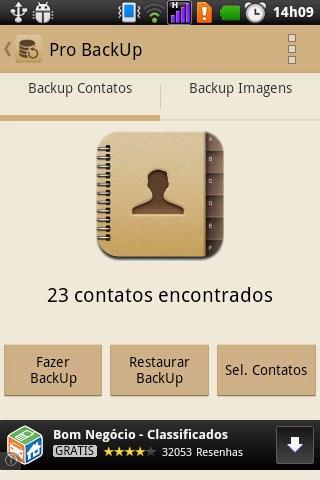 Pro Backup(Contatos e Imagens) - Imagem 1 do software