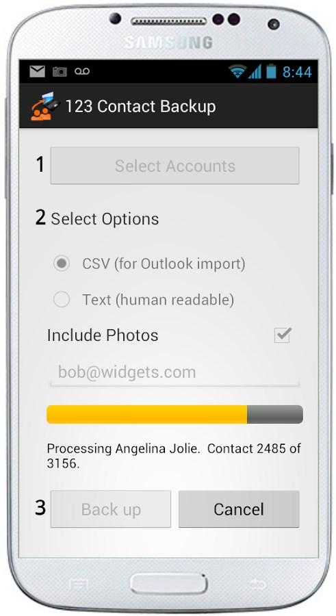123 Contact Backup - Imagem 1 do software