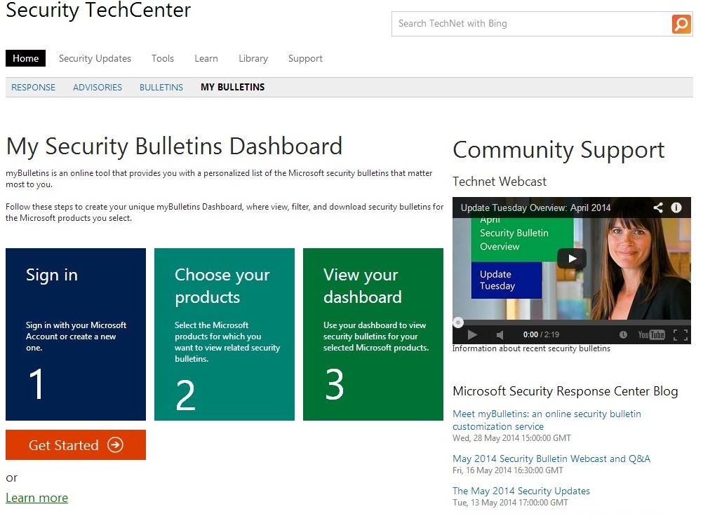 My Security Bulletins Dashboard - Imagem 1 do software