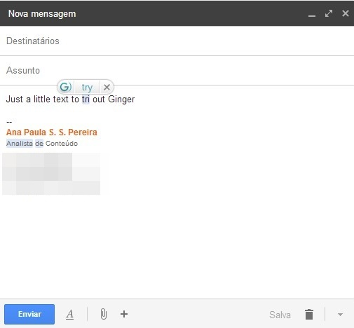 Testando a função no email