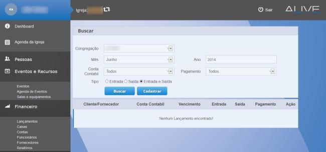Gerenciador de Igrejas Alive - Imagem 3 do software