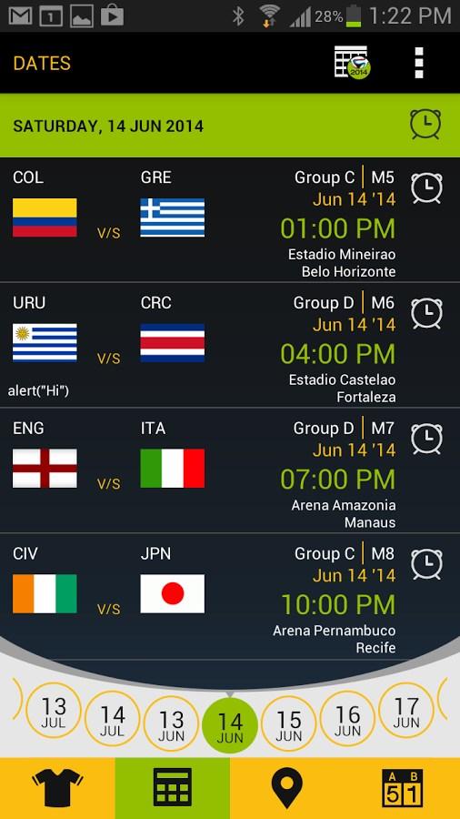 Football Schedule Brazil 2014 - Imagem 2 do software