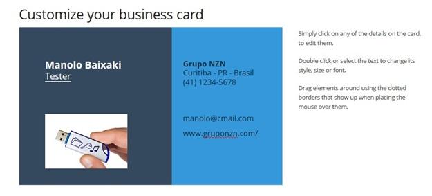 Personalizando o cartão
