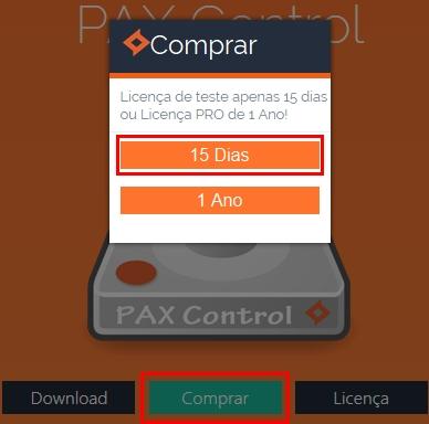 PAX Control - Imagem 3 do software