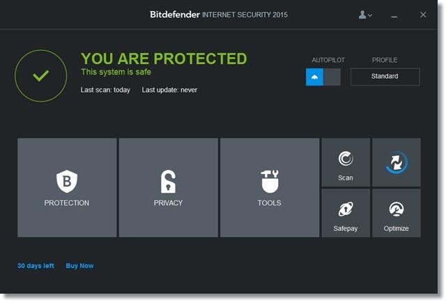 Interface principal do Internet Security 2015