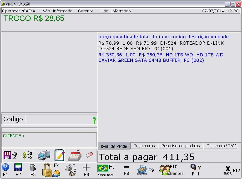 Sistema integrado para emissão de NFC - Imagem 1 do software