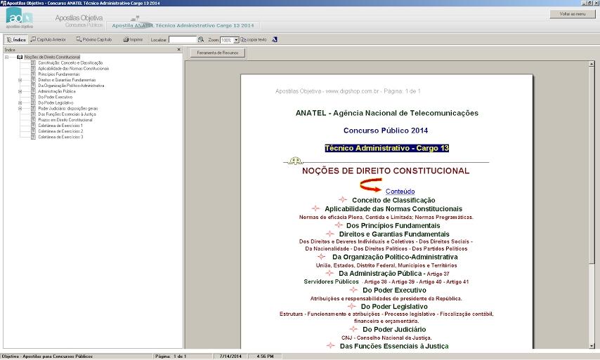 Apostila Concurso Anatel 2014 - Técnico Administrativo Cargo 13 - Imagem 2 do software