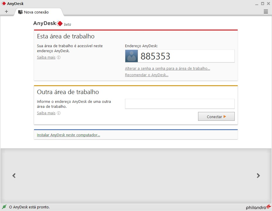 Tela inicial AnyDesk