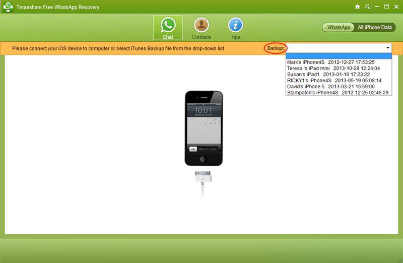Free Whatsapp Recovery - Imagem 1 do software