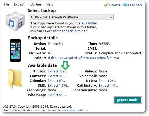 iPhone Backup Extractor - Imagem 1 do software