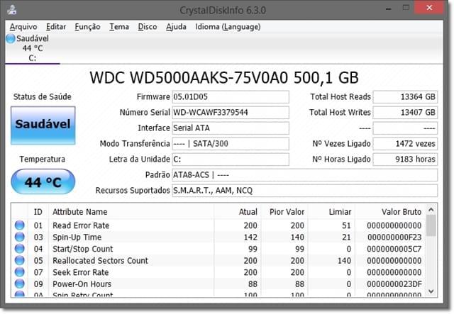 CrystalDiskInfo - Imagem 1 do software