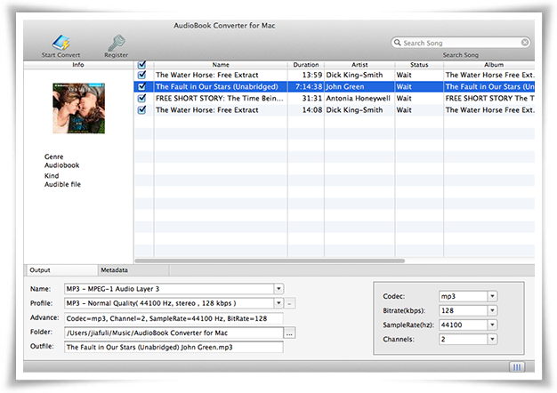 AudioBook Converter for Mac - Imagem 1 do software
