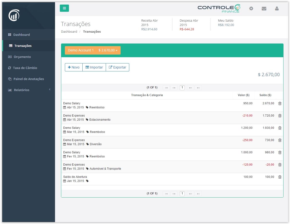 Controle.Finance - Imagem 2 do software