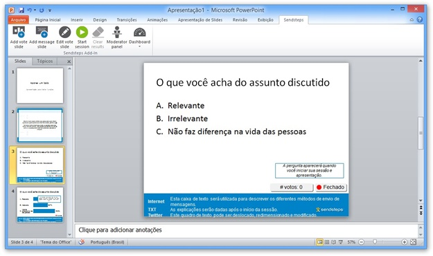 Exemplo de slide de pergunta