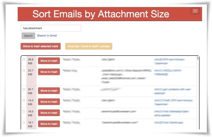 Sort Emails by Attachment Size - Imagem 1 do software