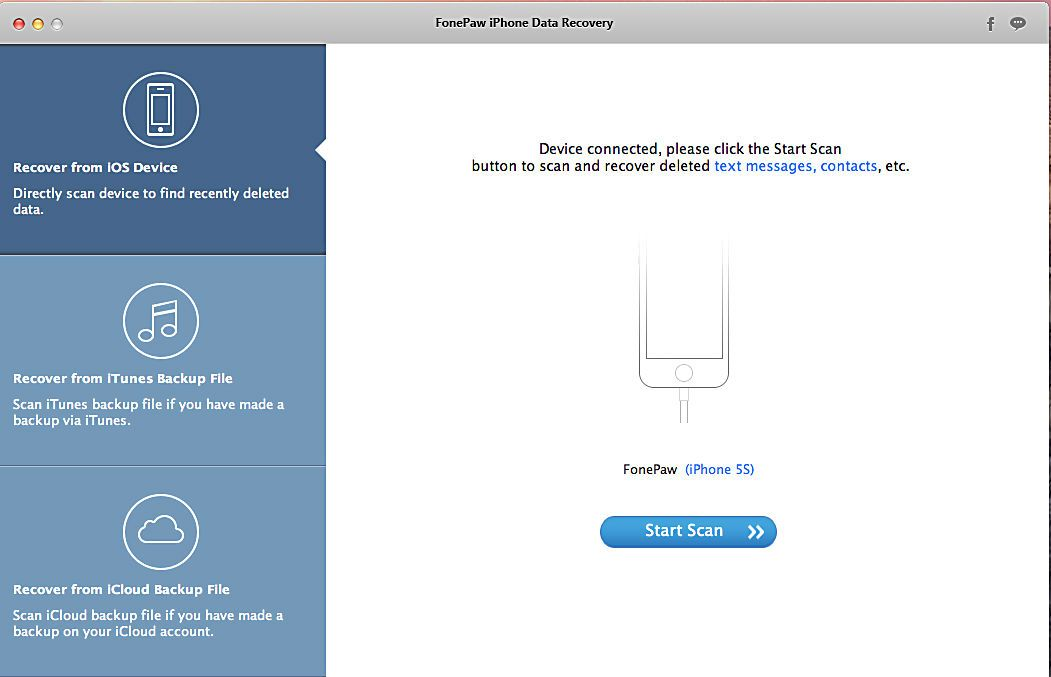 FonePaw iPhone Data Recovery - Imagem 1 do software