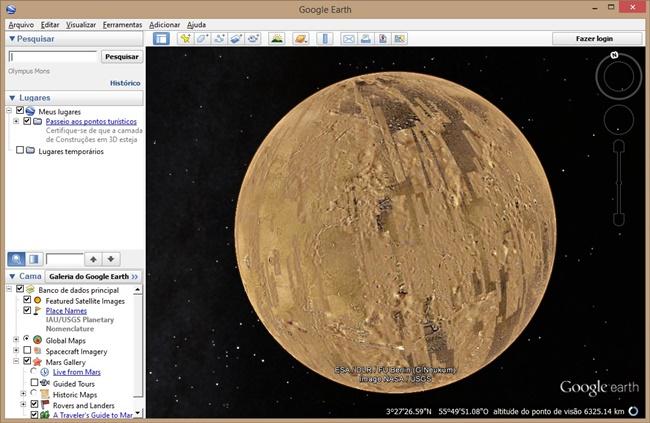Tela de navegação do google earth