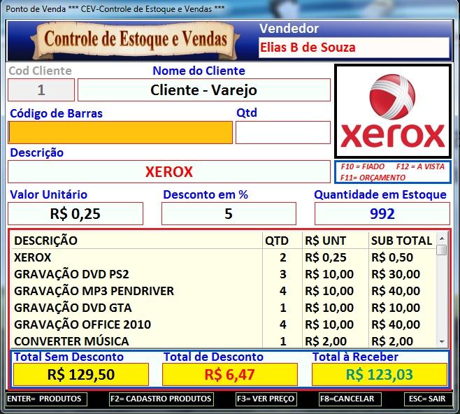 CEV - Controle de Estoque e Vendas - Imagem 1 do software