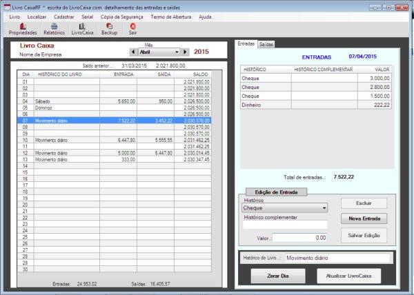 LivroCaixaRF - Imagem 1 do software