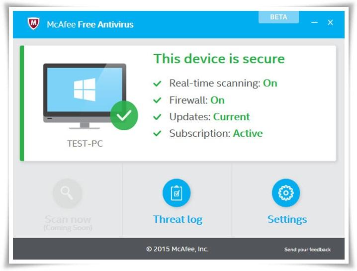 McAfee Free Antivirus Beta - Imagem 1 do software