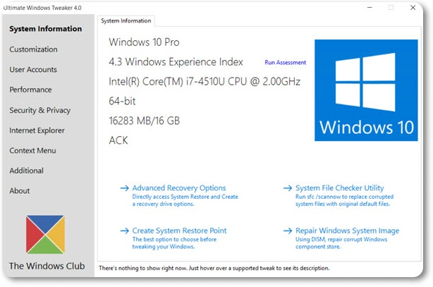 Ultimate Windows Tweaker for Windows 10 - Imagem 1 do software