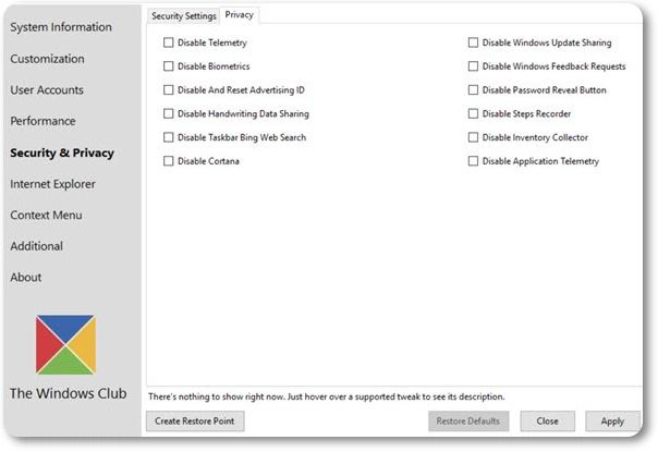 Ultimate Windows Tweaker for Windows 10 - Imagem 2 do software