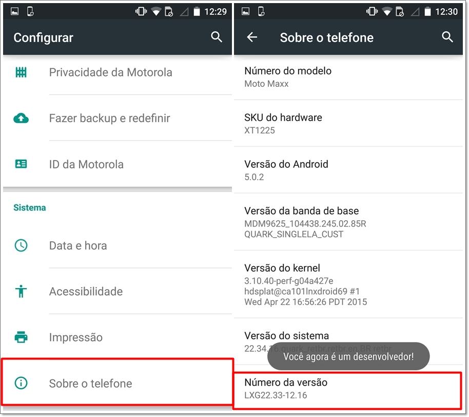 Android secreto': como abrir o menu Testando e as opções de