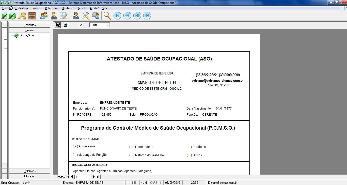 Extreme ASO (Atestado de Saúde Ocupacional) - Imagem 1 do software