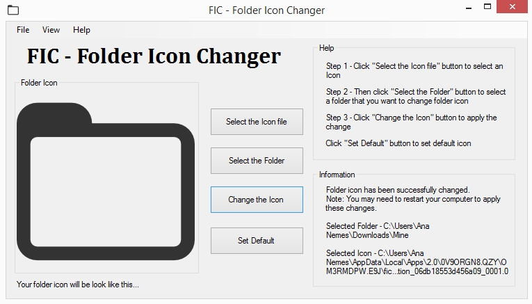 FIC - Folder Icon Changer - Imagem 1 do software