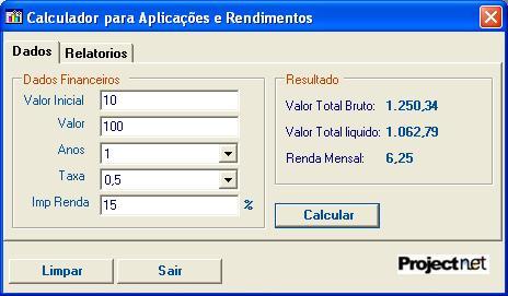 Calculador Financeiro - Imagem 1 do software
