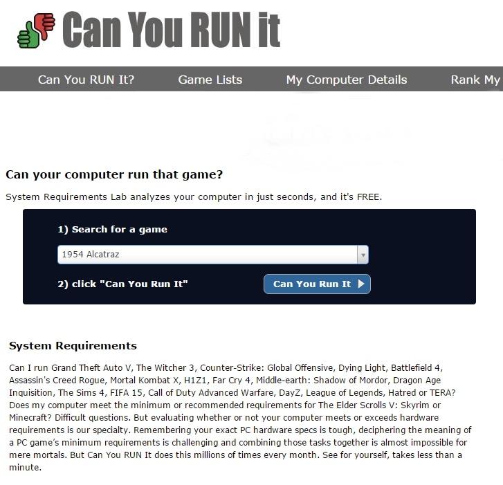 Can You Run It - Imagem 1 do software