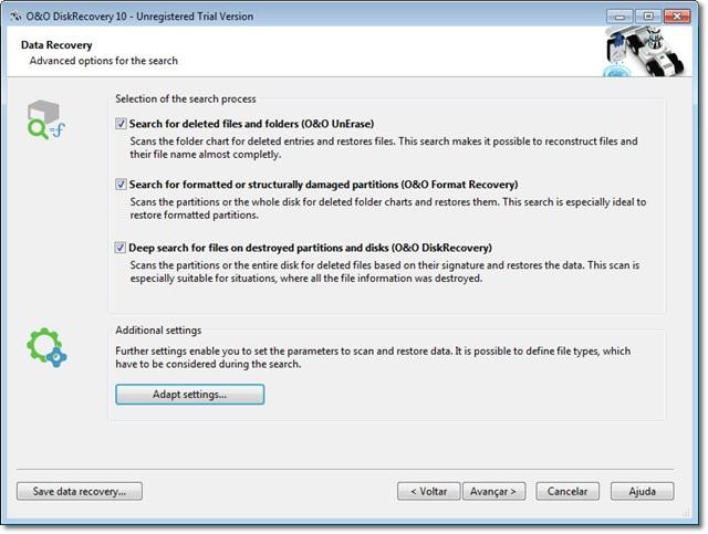 O&O DiskRecovery 10 - Imagem 1 do software