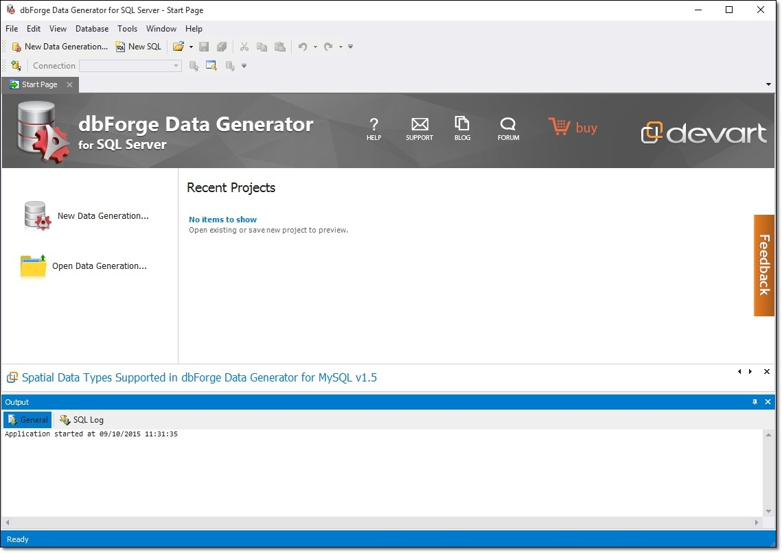 dbForge Data Generator for SQL Server - Imagem 1 do software