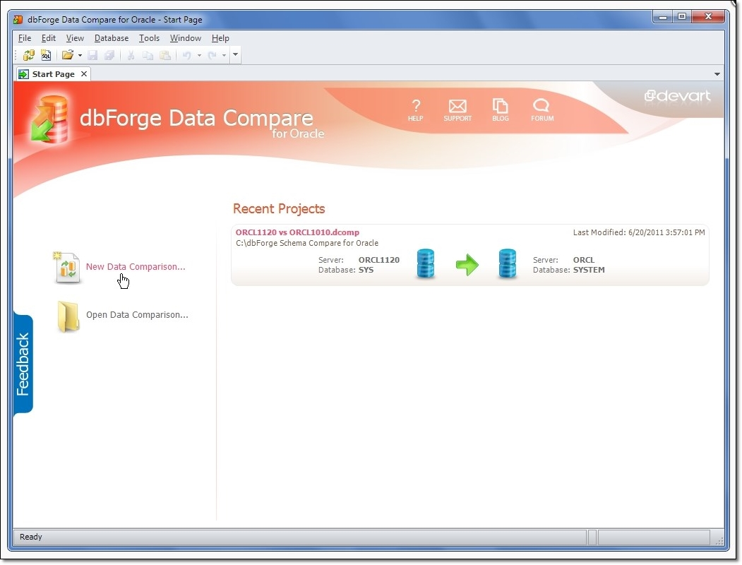 dbForge Data Compare for Oracle - Imagem 1 do software