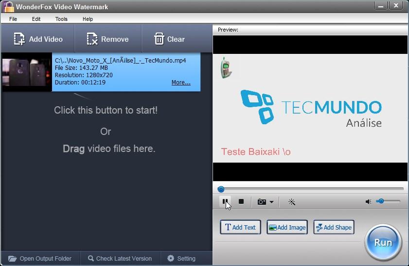 WonderFox Video Watermark - Imagem 1 do software