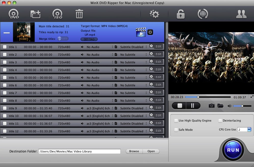 WinX DVD Ripper for Mac - Imagem 1 do software