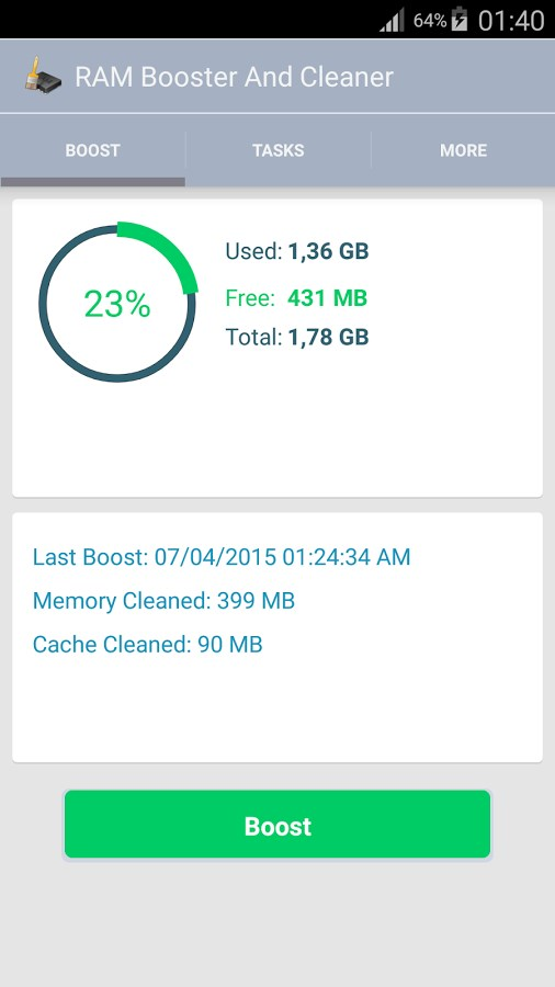 RAM Booster & Cleaner - Imagem 1 do software