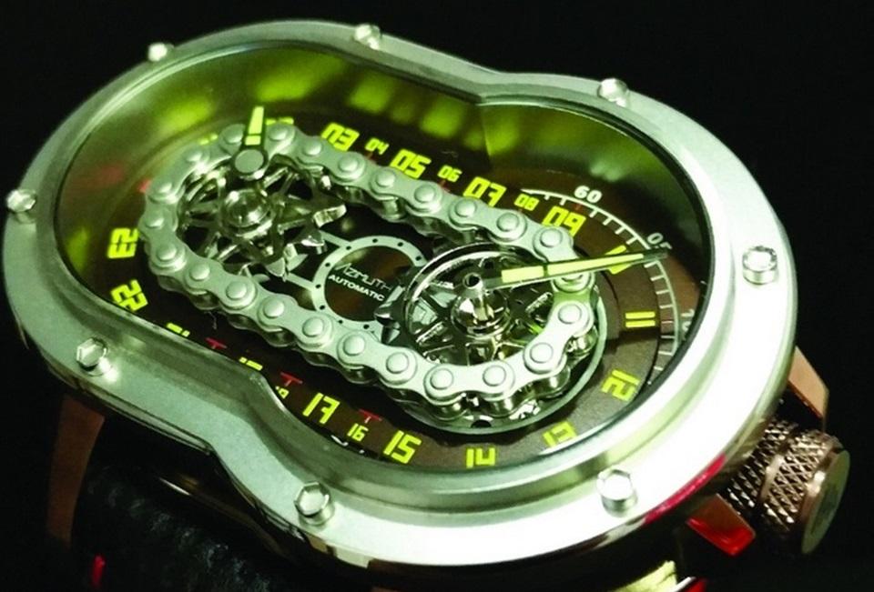 9c2fac29627 Relógio estiloso da Azimuth usa corrente de moto para dizer as horas ...