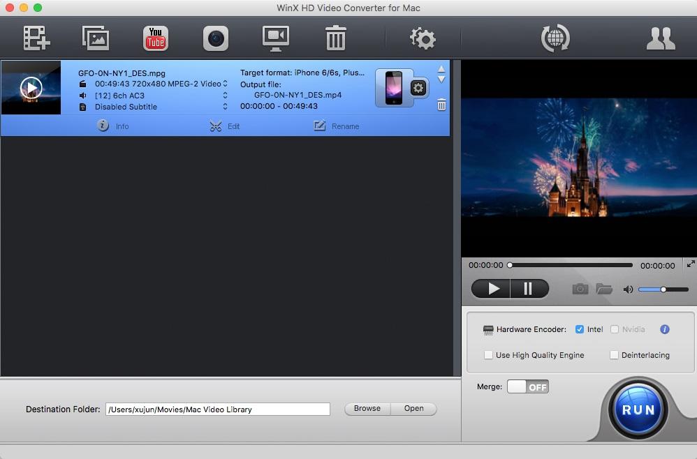 WinX HD Video Converter for Mac - Imagem 1 do software