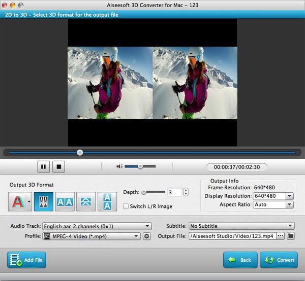 Aiseesoft 3D Converter for Mac - Imagem 1 do software